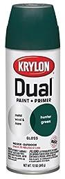 Krylon K08808001 \'Dual\' Superbond Paint and Primer, Gloss Hunter Green, 12 Ounce