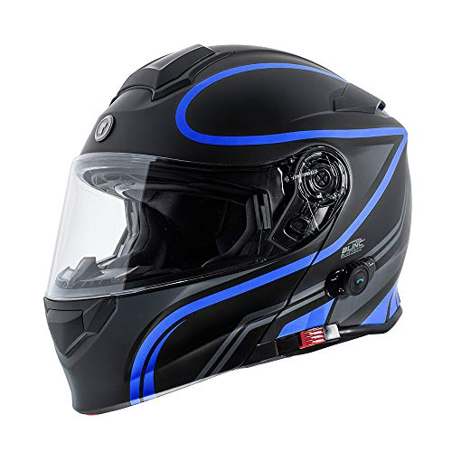 TORC Unisex-Adult Flip-Up Motorcycle Helmet Matte Black Blue LARGE