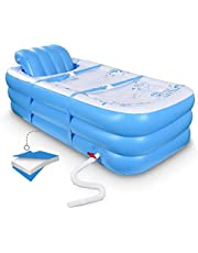 Inflatable Portable Bathtub, Inflatable Bath Tub for Adult Home Spa and Hot Bath and Ice Bath, Foldable Freestanding Bathtub with Assemblable Seat Cushion