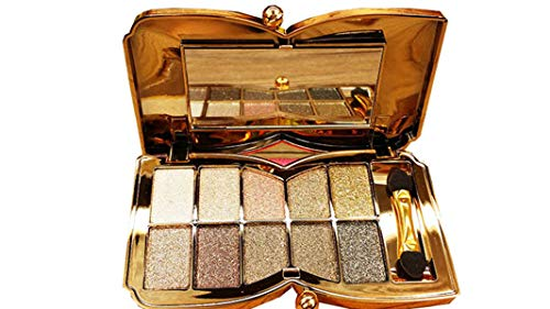 Glitter Eyeshadow Palette,10 Colors Sparkle Shimmer Eye Shadow Highly Pigmented Long Lasting Makeup Set Gold (Type 5)