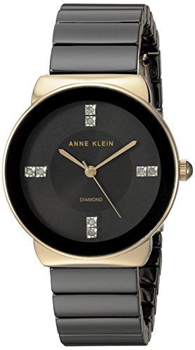 K/2714BKGB Diamond-Accented Gold-Tone and Black Ceramic Bracelet Watch (Black Dial Black Ceramic)
