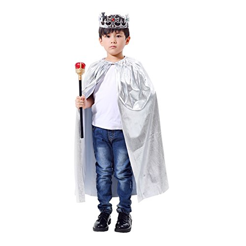Noble King Halloween Crown and Royal Scepter Costume Royal Prince Dress Up/Role Play for Child Party Cosplay ((Silver, 90CM)
