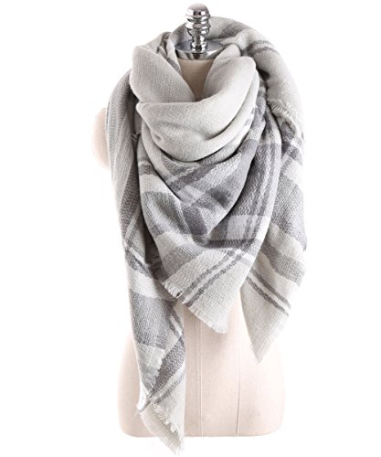 HITOP Women Tartan Scarf Stole Plaid Blanket Checked Scarves Wraps Shawl (Grey)