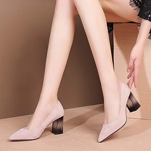 Temporadas Shinik Piel Primavera Tacones De Mujer Altos Cristal 2019 Corte Ante Cuero Rosado Cómodo Zapatos Verano Cuatro Cercanías txxqwZS