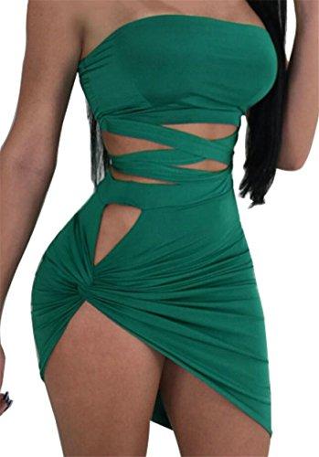 Green up Lace Sexy Jaycargogo Bodycon Womens Dress Tube Sleeveless Bandage npqROBz