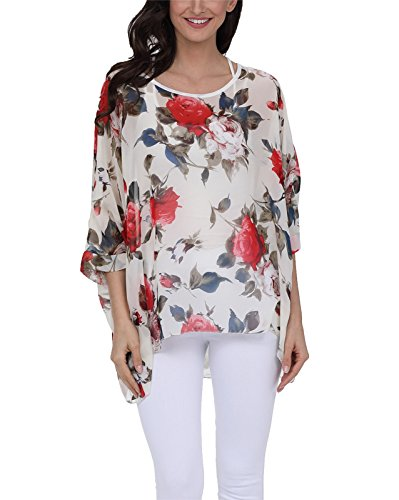 Nicetage Women Floral Loose Chiffon Blouse Caftan Poncho Tunic Tops 4289 ()