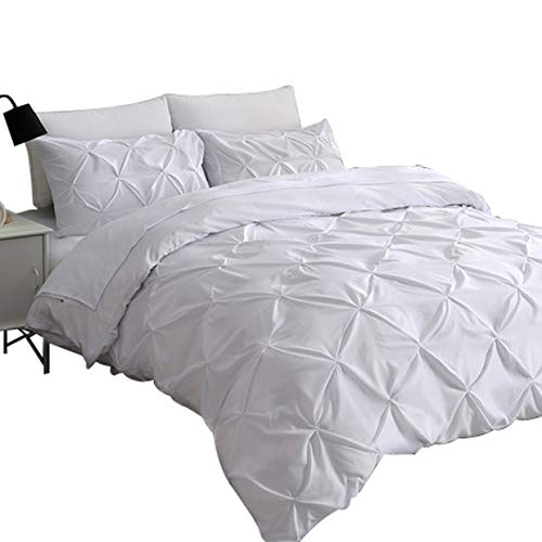 Price comparison product image Ucharge Unique Pinch Pleat Pintuck Duvet Cover Set,3 Pieces Decorative Stylish Brushed Microfiber Bedding Set With Zipper and Corner Ties (Queen White)