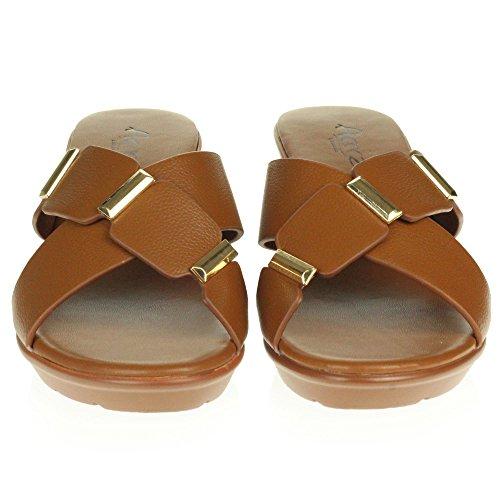 Confort Glisser Sandales Moyen Chaussures Taille Décontractée Toe Marron Compensé Talon Femmes Poids Sur Open Dames Des Été Léger wPqSnHXUS