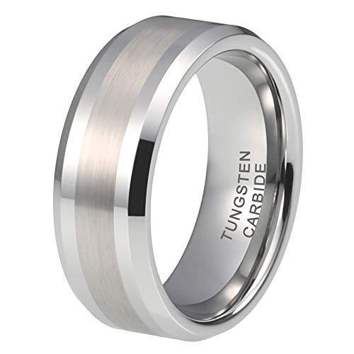 iTungsten 8mm Tungsten Rings for Men Women Wedding Bands Beveled Edges Matte Polished Finish Comfort Fit