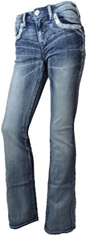 Grace L.A. Idol Women Bootcut Jeans Silver Aztec Cowgirl Back Pocket Stretch Med Blue