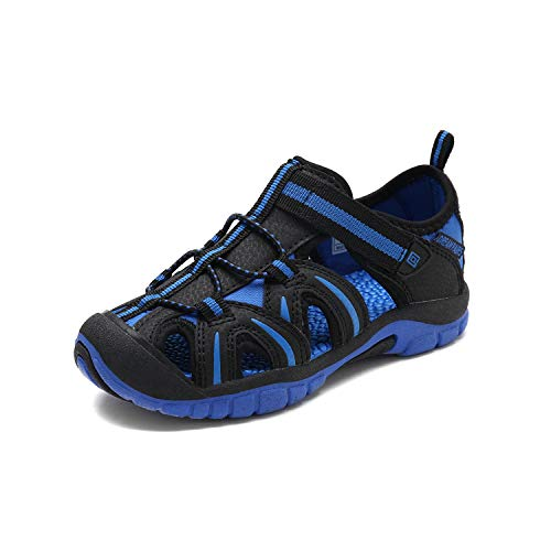 DREAM PAIRS Boys Girls 171112-K Black Royal Outdoor Summer Sandals Size 2 M US Little Kid