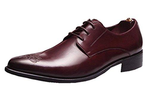 Happyshop(TM) British Style Mens Leather Shoe Oxfords Derbies Lace-ups Dress Shoes Wedding Shoes Wine Red (25829)