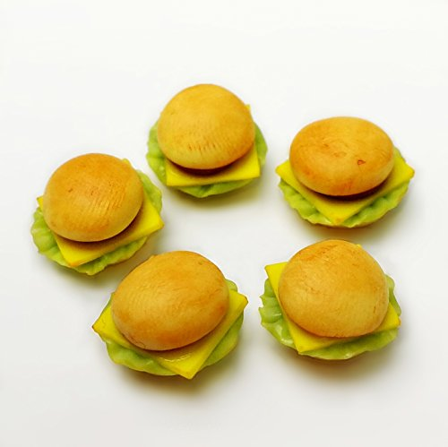 5 Pcs Dollhouse Miniature Food Beef Cheese Burger 10mm 1:12 Scale