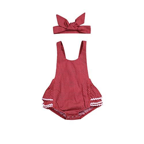 UCQueen Bodysuit for Baby Girl Newborn Boy Sleeveless Polka Dot Romper Jumpsuit Sunsuit Bodysuit Headband Clothes Set Red