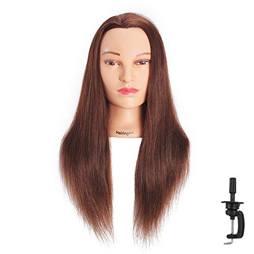 Hairingrid Mannequin Head 24-26100% Human Hair Hairdresser Cosmetology Mannequin Manikin Training Head Hair and Free Clamp Holder (R72091LB0418H)