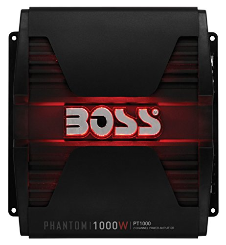 BOSS Audio Systems PT1000 Phantom 1000 Watt, 2 Channel, 2 4 Ohm Stable Class AB, Full Range, Bridgeable, Mosfet Car Amplifier with Remote Subwoofer Control (1000 Watt Channel Amplifier 2)