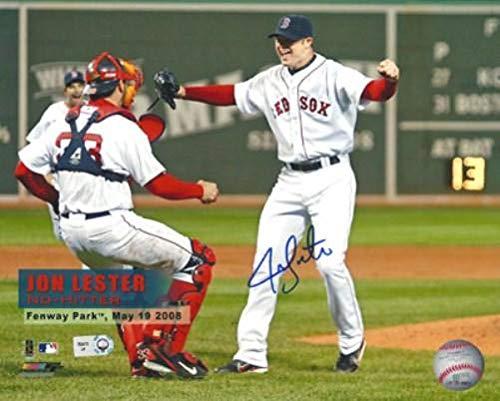 Signed Jon Lester Photo - 8x10 No Hitter w Catcher Holo - Autographed MLB ()