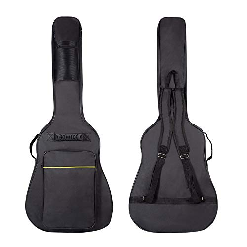 CAHAYA [Upgraded Version] 41 Inch Acoustic Guitar Bag 0.3 Inch Thick Padding Waterproof Dual Adjustable Shoulder Strap Guitar Case Gig Bag with Back Hanger Loop - Black ()