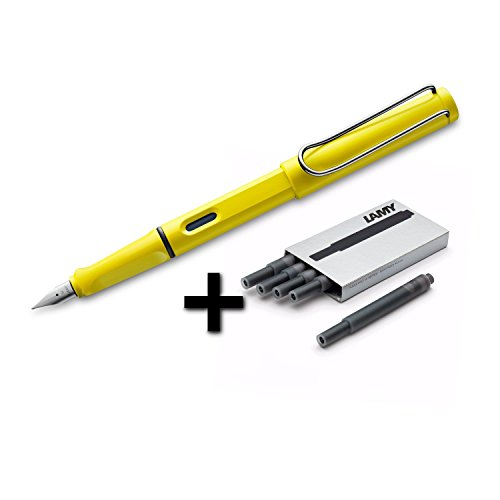 Lamy Safari Fountain Pen, Medium Nib + 5 Black Ink Cartridges (Yellow)