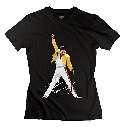 Women's Queen Band Freddie Mercury Autograph Sign 100% Cotton Tee Shirt Black (Eine Brille Für Baseball)
