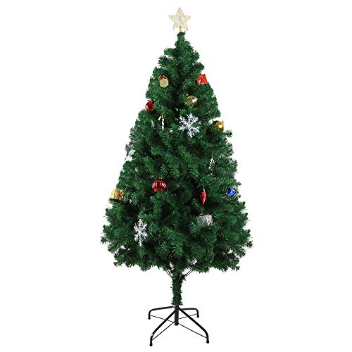 LuckyerMore 6 ft Classic Pine Artificial Christmas Tree Full 800 Tips PVC Branch with Metal Stand and Xmas Decorations,Green