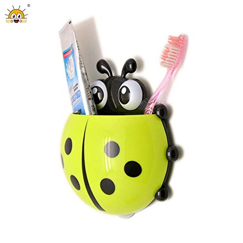 Bathroom Accessories Sets - Ladybug Toothbrush Holder Cute Cartoon Insect Ladybird Shape Bathroom Wall Suction Hooks Sets Tooth - White Shower Blue Hardware Brown Boys Purple Sets Curtain Comp