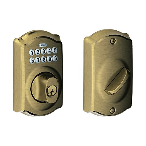 - BE365 CAM 609 Camelot Keypad Deadbolt, Antique Brass