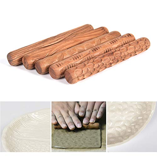 WINGOFFLY 4.7INCH Pottery Tools Wood Hand Rollers for Clay Clay Stamp Clay Pattern Roller(5PCS Set) by WINGOFFLY (Image #3)