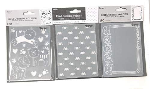 Darice Embossing Folder Borders Cats Kittens Bundle: 1 Meow Cat Border, 1 Cats and 1 Cat Head Silhouettes, Each 4.25