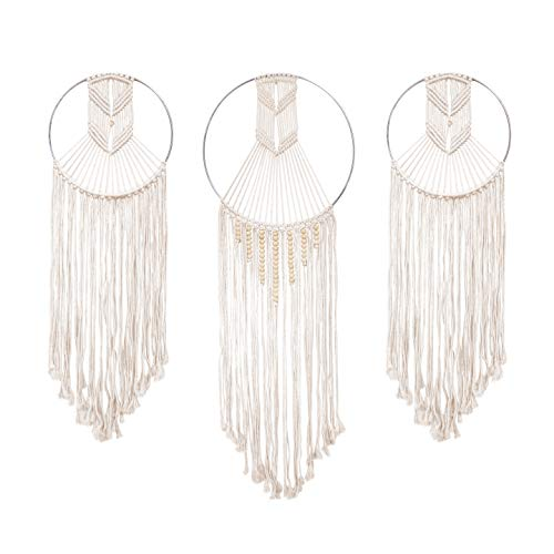 23 Bees | Macrame Wall Hanging Dream Catcher | Large Handmade Crochet Decor for Bedroom | Big Woven Boho Tapestry Dreamcatcher | Chic Rope Art Decorations for Room (3 Pack) -