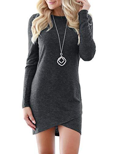 2222bc1e9c5 CNJFJ Womens Bodycon Mini Dresses Elegant Stretchy Long Sleeve T Shirt  Short Club Dress