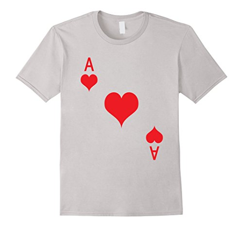 Mens Ace of Hearts T-Shirt Playing Card Tee | Halloween Costume T Small Silver (Up Grandpa Halloween)