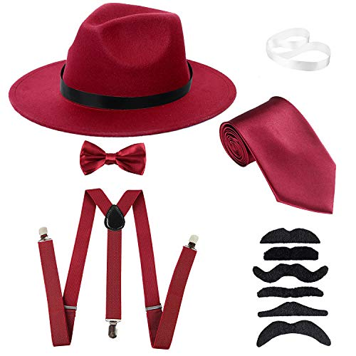 Men's Roaring 1920s Set Manhattan Fedora Hat,Y-Back Suspenders & Pre Tied Bow Tie, Gangster Tie & Fake Mustache (OneSize, Burgundy Hat & Burgundy Suspenders) -