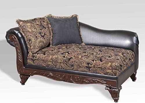 Roundhill Furniture San Marino 2-Tone Fabric Chaise, Chocolate