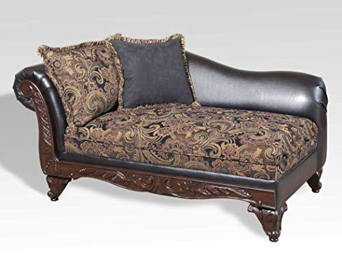 Roundhill Furniture San Marino 2-Tone Fabric Chaise, Chocolate