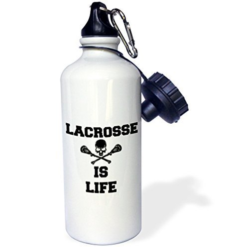 Moson Water Bottle Gift, Lacrosse Is Life Picture Of Black Skull And Lacrosse Sticks White Stainless Steel Water Bottle for Women Men 21oz