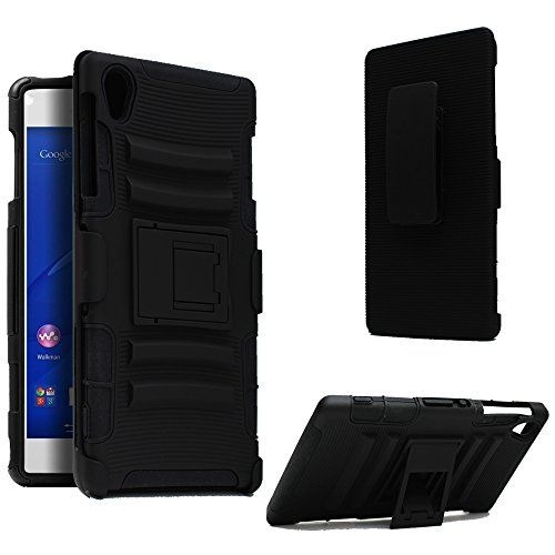Sony Xperia Z3 Belt Clip, Kuteck Sony Xperia Z3 D6653 Dual Layer Holster Case with Kickstand and Locking Belt Swivel Clip Black, Bonus 1x Stylus Pen