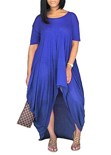 Yeshire Women's Short Sleeve High Low Asymmetrical Ruched T Shirt Tunic Tops Long Maxi Dress XX-Large Royal - Asymmetric Dress Ruched