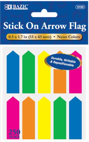 "BAZIC 25 Ct. 0.5"" X 1.7"" Neon Color Arrow Flags (10/Pack)"
