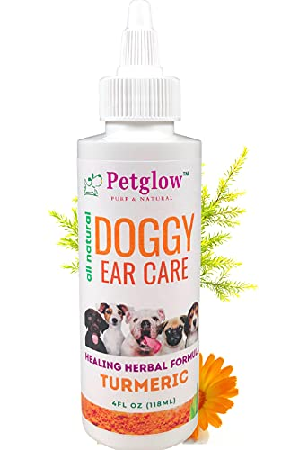 Ear Cleaner for Pet Mite and Yeast Infection Treatment for Dogs and Cats. Herbal Drops Work As Antibiotic for Bacterial, Fungal infections with Organic Turmeric.