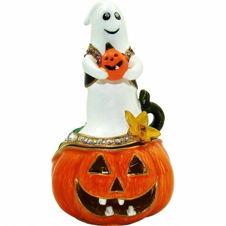 Ghost on Jack O Lantern Halloween Trinket Box