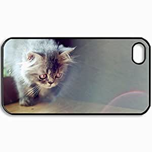 Diy Yourself Customized Cellphone case cover Back Cover For iPhone 4 4S, protective LwbUhNfBaKc Hardshell case cover Personalized Cat Light House Black