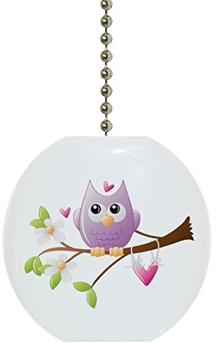 Whimsical Owl on Limb Solid Ceramic Fan Pull Ceramic Ceiling Fan Pull
