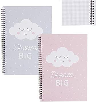 Dcasa - Libretas A4 infantil nubes - Pack 2 ud.: Amazon.es: Hogar