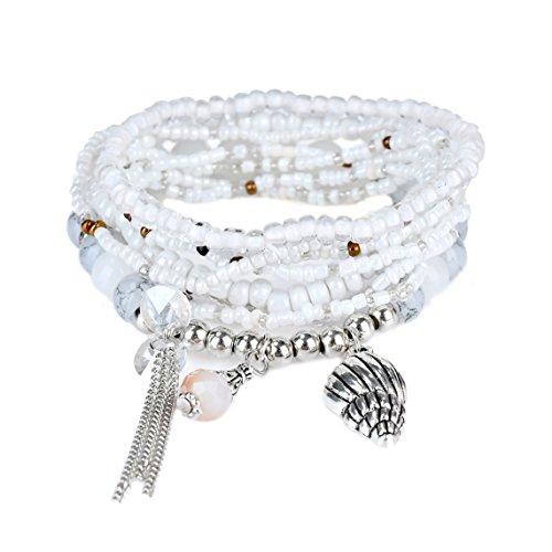 Bohemian Black Grey Beaded Bracelet Stretch Wrap Bangle With Charms Seashell Dangle Layered RareLove (Seashell Bead Bracelet)