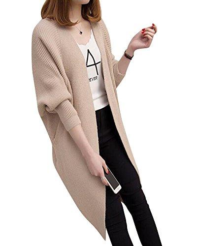 souris Manteaux Femmes Chauve Abricoté Lâche Moollyfox Sweater Cardigan Vrac Manches Casual Tricot w6pCTq