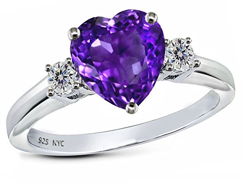 Star K 8mm Heart Shape Simulated Amethyst Ring Sterling Silver Size 8 -