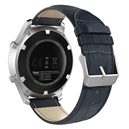 MoKo Band Compatible with Samsung Gear S3/Gear S3 Classic/Frontier/Galaxy Watch 46mm/Ticwatch S2/E2/pro/Huawei Watch GT 2 46mm, 22mm Genuine Leather Crocodile Pattern Replacement Strap, Dark Blue