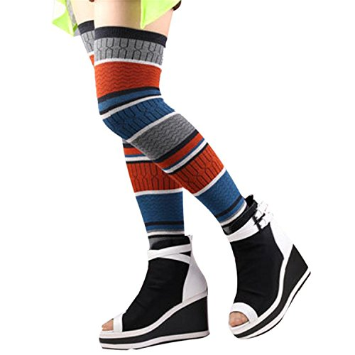 Price comparison product image JIANGTAOLANG Womens Leg Warmers Colors Striped Patchwork Thigh High Leg Socks