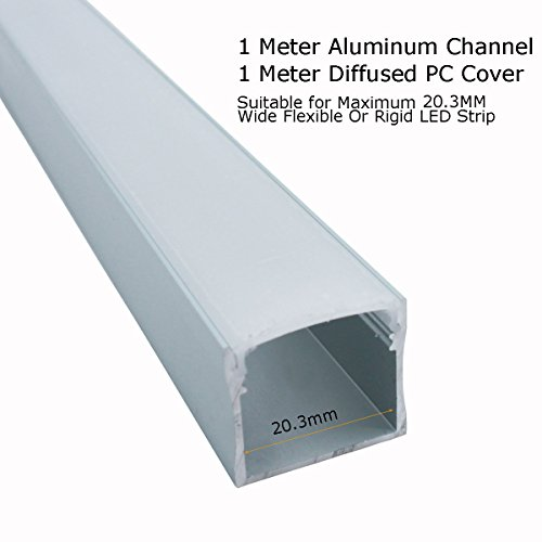 Litever 6 Pack Aluminum LED Channel - for LED Strip Mounting-3.3ft/1 Meter Aluminum Channels, 23mm Wide 21mm Deep, End Caps, Brackets, Spotless Lighting Effect with Frosted Cover-6-PACK-[LL-WH-2420] by Litever (Image #2)